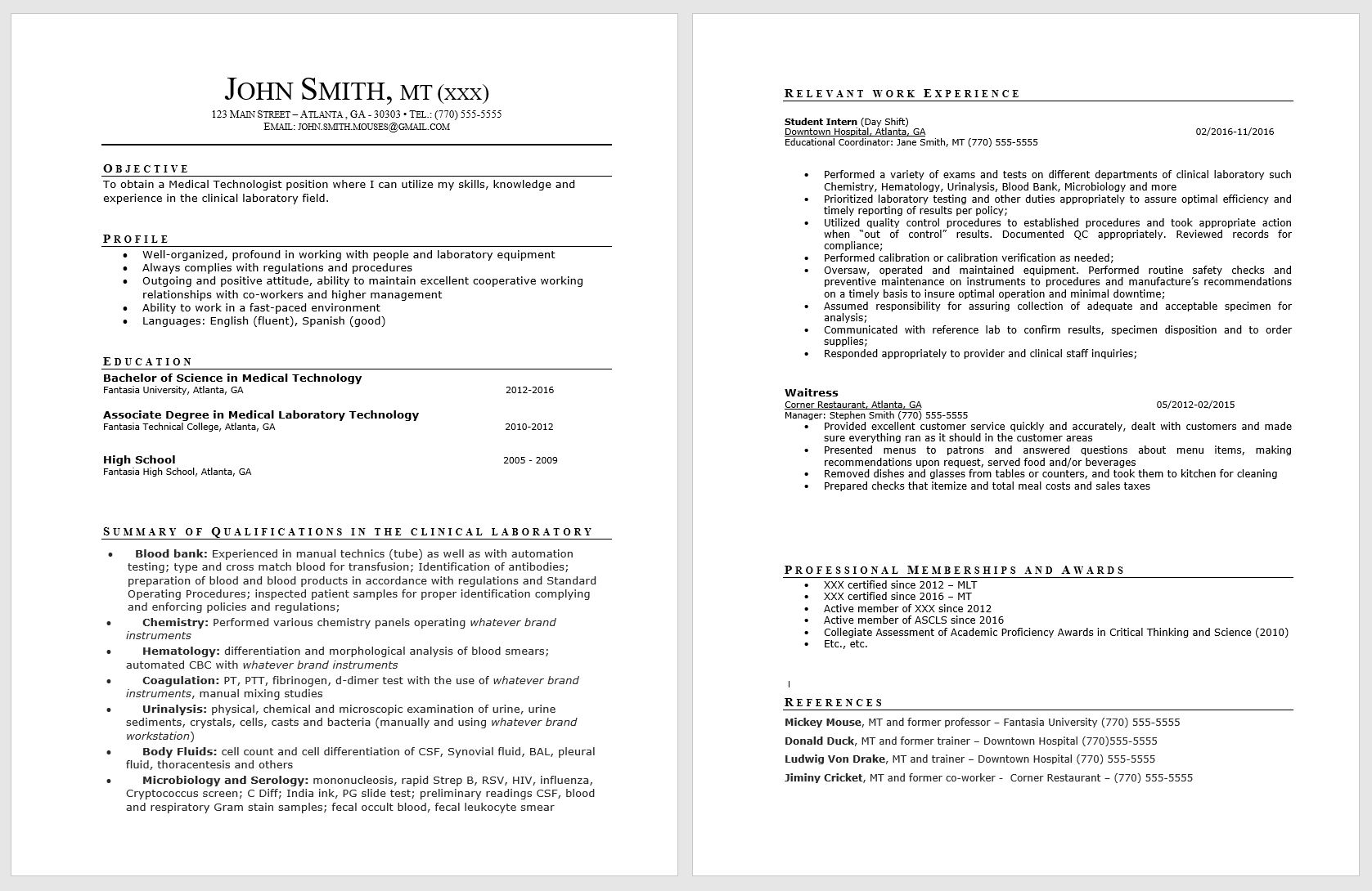 resume for medical technologist
